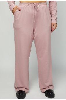 Пудровые оригинальные широкие брюки