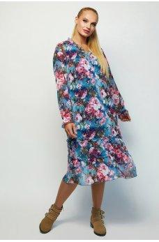 Серо-голубое яркое свободное платье с принтом