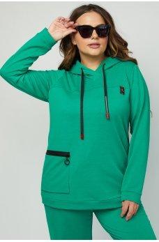 Зеленое практичное женское худи