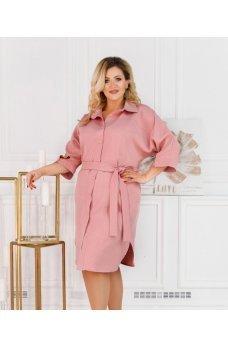 Платье-рубашка розового цвета размера plus size