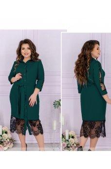 Экстравагантное платье-рубашка цвета морской волны