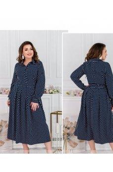 Стильное платье большого размера темно-синего цвета
