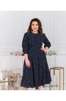 Женственное платье большого размера темно-синего цвета