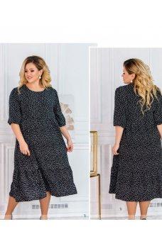 Привлекательное черное платье в мелкий горошек