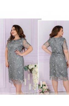 Изысканное платье большого размера стального цвета