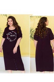 Бордовое оригинальное платье батал