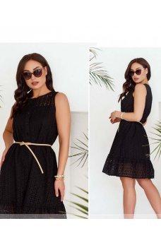 Черное стильное платье с кружевом