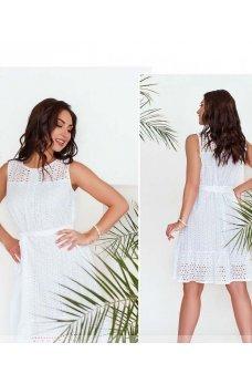 Белое изящное платье с поясом
