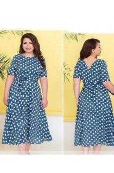 Голубое стильное платье на запах в горошек