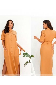 Горчичное длинное платье с поясом