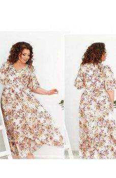 Легкое длинное платье цвета айвори