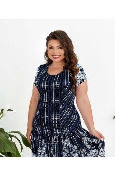 Голубое женственное платье миди