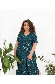 Бирюзовое нарядное платье макси с принтом