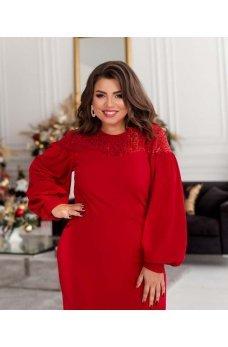 Нарядное красное платье с пышными модными рукавами