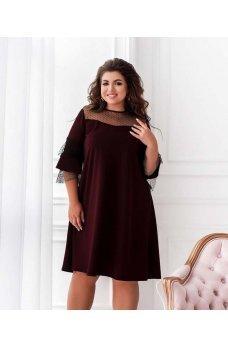 Свободное нарядное платье цвета марсала с сеточкой