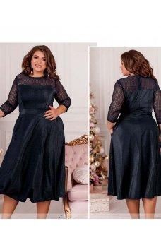 Темно-синее шикарное платье миди с кружевом