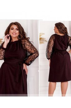 Бордовое утонченное платье с кружевными рукавами