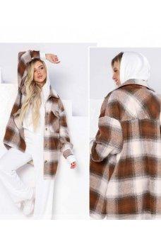 Бежевый практичный кардиган-пальто с карманами