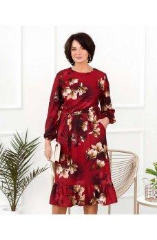 Красное роскошное платье батал с поясом
