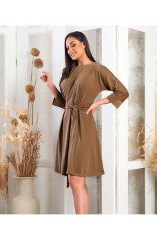 Бежевое минималистичное платье батал