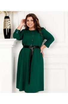 Зеленое лаконичное платье миди с поясом