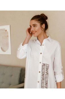 Белая коттоновая модная рубашка батал