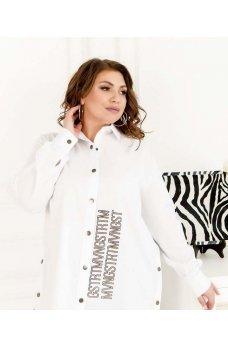Белая коттоновая стильная рубашка батал