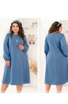 Голубое привлекательное платье батал с карманами