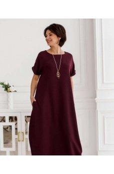 Бордовое женственное длинное платье