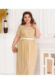 Бежевое актуальное универсальное платье
