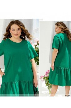 Зеленое универсальное уютное платье миди из льна