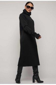 Модное зимнее платье с удлиненной широкой горловиной черного цвета
