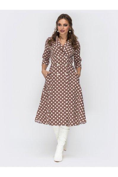 Шикарное двубортное платье в горох