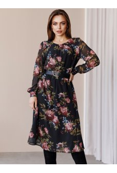 Черное цветочное шифоновое платье миди
