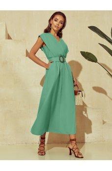 Мятное эффектное однотонное платье макси