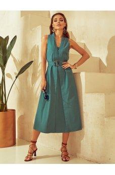 Зеленое гламурное льняное платье миди