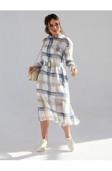 Модное шифоновое платье батал в клетку