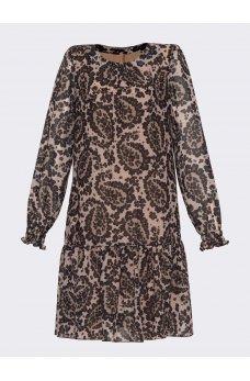 Шифоновое платье трапеция коричневый принт