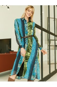 Шифоновое платье рубашка в сине-зеленых оттенках