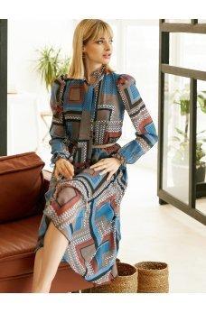 Романтичное шифоновое платье с геометрическим принтом