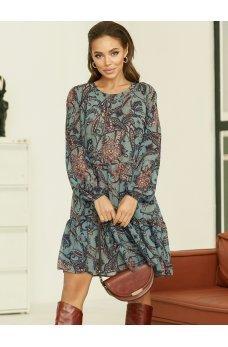 Женственное шифоновое платье с воланом по низу