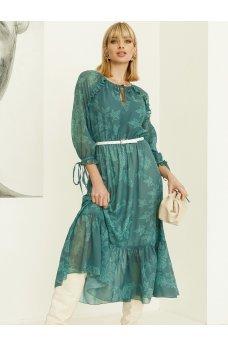 Утонченное зеленое шифоновое платье миди