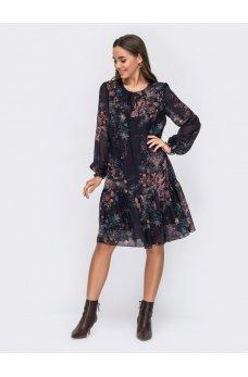 Шифоновое платье трапеция принт на черном