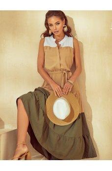Трехцветное платье макси из льна жатки