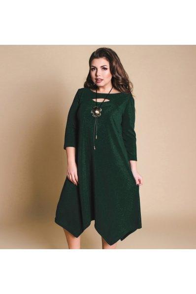 Нарядное изумрудное платье размера 50+
