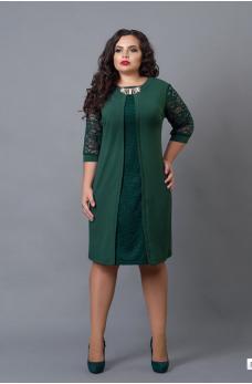 Нарядное изумрудное платье с вставкой из гипюра