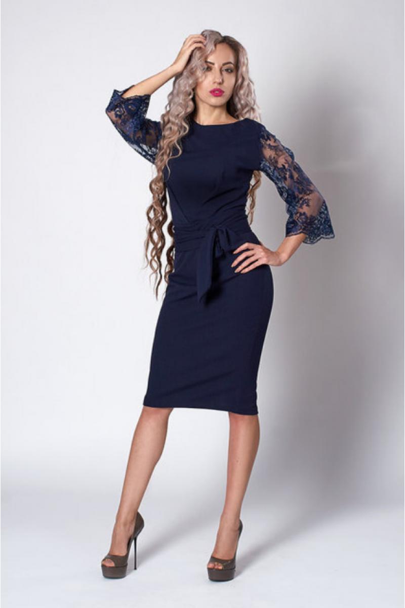 ef2f5aa546e Ошатне плаття - футляр темно - синього кольору