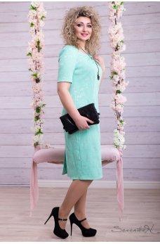 Нарядное нежно мятное платье