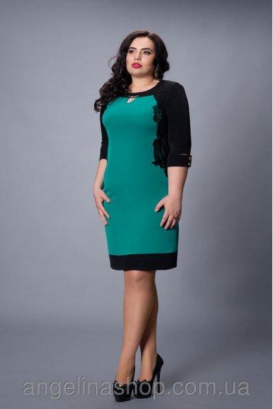 Нарядное бирюзовое платье с черной окантовкой