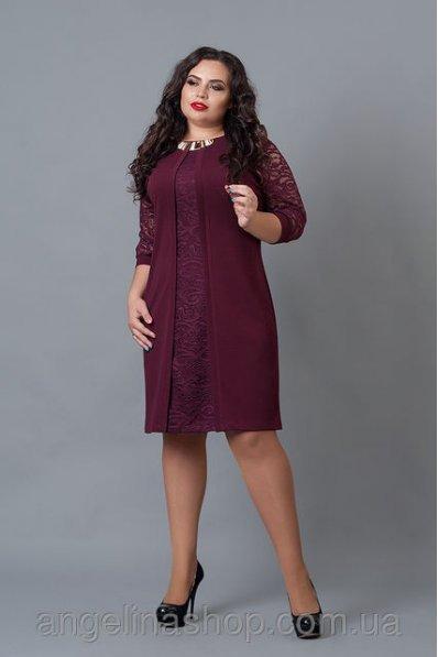 Праздничное бордовое платье со вставкой из гипюра